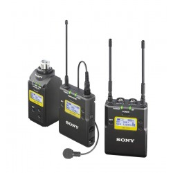 ENG UHF-Wireless set, UTX-B03 belt pack, UTX-P03 Plug On,  URX-P03 portable receiver, lavalier microphone and accessories, TV-ch